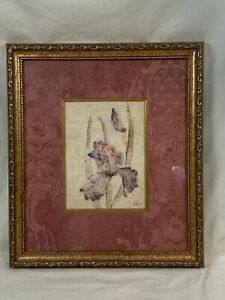 "Cheri Blum Floral Orchid  Print Framed 13"" x 15"" Pinks Purple Mave 82"