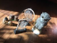 Vintage Owl set Figurines 5pcs Japan Art decor paperweight mixed material lot