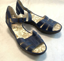 Fly London Wedge Navy Gladiator Leather Strap Wedge Shoes Women's 11 Med