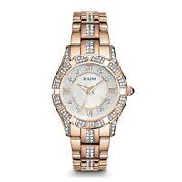 Bulova Women's Quartz Swarovski Crystal Accent Gold-Tone 30mm Watch 98L197