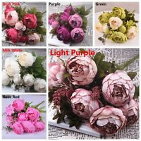 13 Heads Silk Peony Artificial Flowers Peony Wedding Bouquet Party Decors Home
