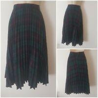 Vintage 80s Pleated Pure Wool Green Blue Red Tartan Kilt Midi Skirt 4 Lined