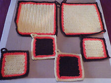 Set of Two Vintage Crochet Potholders Hand-Made Excellent Condition w/ 4 coaster