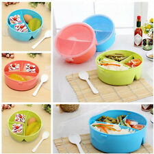 Cute Portable Round Microwave Lunch Box Picnic Food Container Spoon Random Color