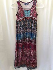 7560d8a06855 New Truly Me 0874 Girls Pink Printed Sleeveless Empire Maxi Dress Size 7  Long