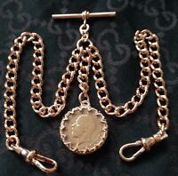 George V Coin Fob Rose Gold Plate Double Albert Pocket Watch Chain
