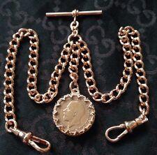 George V coin Fob Laminé or Rose Double Albert Poche Montre Chaîne