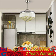 Crystal Led Chandelier Invisible Ceiling Fan Light Ceiling Lamp w/Remote Control