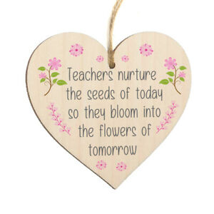 Teacher Nuture Seeds Today Flower Thank You Heart Decoration Plaque Sign Gift