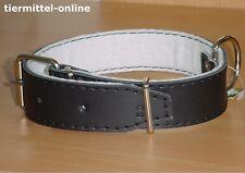 Halsband a. echtem Leder gepolstert 80cm / 40mm schwarz