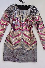 NWT bebe gold multi sequin allover long sleeve printed sexy top dress S Small