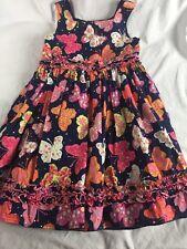 Girls Youngland 6 EUC Sleeveless Knee Length EASTER Dress Navy Butterfly SPARKLE
