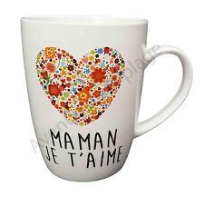 """Mug coeur """"Maman je t'aime"""" idée cadeau tasse café Fête des Mères neuf"""