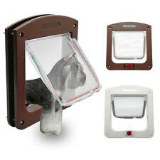 White Brown Frame 4 Way Locking Lockable Pet Cat Small Dog Flap Door - CB