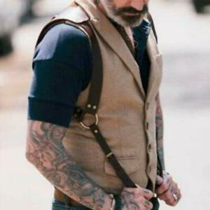 Mens Faux Leather Body Shoulder Harness Half Chest Cage Belt Bondage Clubwear W