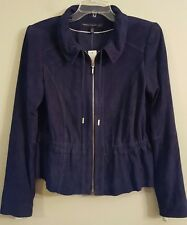NWT WHITE HOUSE BLACK MARKET Suede Jacket SMALL Navy/Admiral Blue #47074