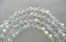 20 Czech Glass Druk Beads 10mm Crystal AB, irregular round clear AB coated, P200
