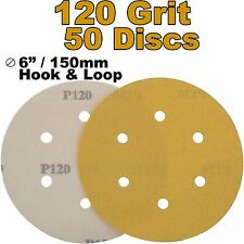 "Mirka Plain Boxed 150mm 6"" P120 Grit 50x HookNLoop DA Sanding Abrasive Discs"