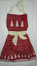 Christmas Apron 'Scandy' design by Jan Constantine for Ulster Weavers Red Cream