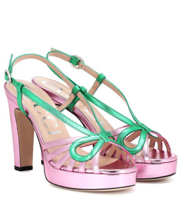 GUCCI Metallic Leather Platform Crossed Bow Sandals Pink Green 39