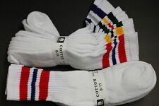 5 Pair's Men's/Women's 9-11 Long Crew Socks,Cotton Athletic Socks White Red BK
