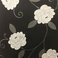 Puccini Black Cream Grey Silver Wallpaper Flower Feature 5568 We Combine