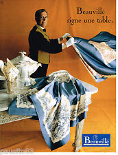 PUBLICITE ADVERTISING 065  1995  BEAUVILLE   nappe linge de table