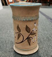 Vintage 1987 Chattahoochee Pottery Floral Motif Cylindrical Vase