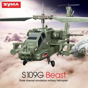RTF S109G SYMA Ch Kids Ah-64 Beast 3.5 Toy Rc Helicopter Model Military Quality
