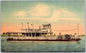 "Vintage 1940s Mississippi Linen Postcard ""HISTORIC NATCHEZ AND VIDALIA FERRY"""