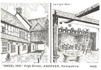 Art Sketch Postcard Angel Inn High Street Andover Hampshire by Don Vincent AS1