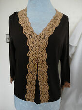BNWT LADIES CHOCOLATE BROWN BLOUSE/TOP WITH LACE TRIM BY COUNTRY CASUALS SZ L
