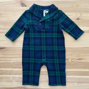 NWOT JANIE AND JACK Softest Snow Series Green/Navy Plaid Romper Size 0-3 Months
