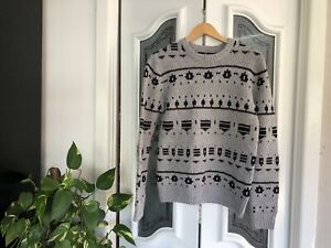 Stray Mens S Small Wool Blend Knit Jumper Pullover Sweater Grey