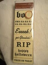 "New Martha Stewart ""Spooky Phrase"" Happy Halloween Boo RIP 7 Wood Rubber Stamps"