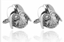 Cufflinks Star Wars Darth Vader 3D Silver Colour Cuff links Silver Star Treck