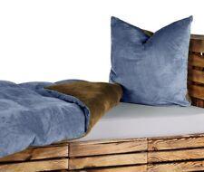 UNI WENDE Bettwäsche 135x200 Teddy Plüsch Cashmere Touch Jeans Blau Braun NEU