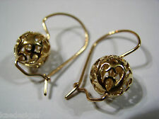 GENUINE 9CT YELLOW GOLD LARGE HEAVY 12MM EURO BALL DROP FILIGREE EARRINGS