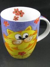 Yellow Tiger Cat on Blue Porcelain Mug Set of 4 New by Konitz