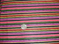 Vintage Cotton Fabric BRIGHT COLORFUL STRIPE Pink, Fuschia, Yellow, Green1 Yd