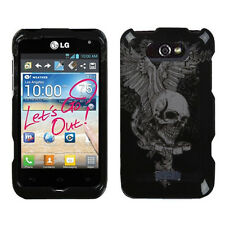 For LG Optimus Regard HARD Protector Case Snap On Phone Cover Skull Wing
