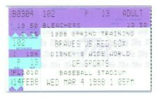 1998 Atlanta Braves Boston Red Sox 3/4 Spring Training Ticket *ST1F