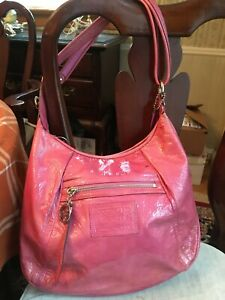 COACH POPPY PETAL PINK PATENT LEATHER SHOULDER BAG STYLE 16723 SILVER HARDWARE