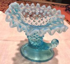 Vtg Blue Art Glass Hobnail Cornucopia Vase Opalescent Fenton? Ruffled Edge