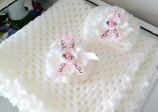 Hand crochet blanket and hat newborn/reborn baby set