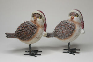 Cute Christmas Bird Figurines Wearing Red Santa Hats Set Of Two
