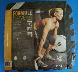 "12 Foam Interlocking Puzzle Tiles 3/4"" Thick Foam Exercise Workout Yoga Play Mat"