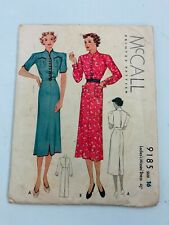Vtg 1930's McCall # 9185 front button dress sewing pattern sz  16/34