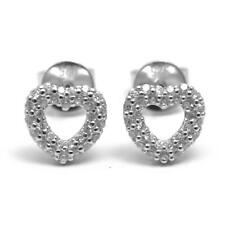 Diamond-Unique Heart Stud Earrings Solid Silver Diamond Set Platinum Over