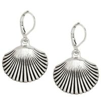 Seashell Fashionable Earrings - Leverback - Rhodium Plated